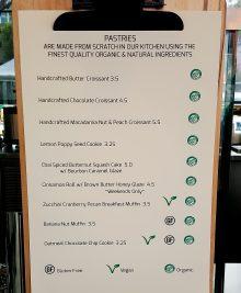 photo of pastry menu at Lofty Coffee