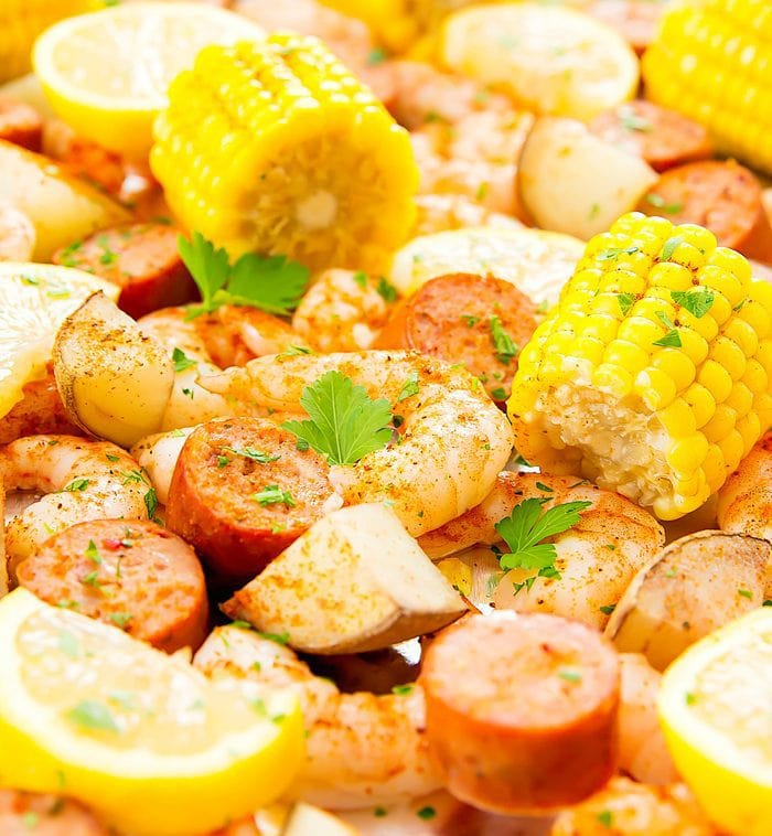 close-up of Foil Sheet Pan Oven Shrimp Boil