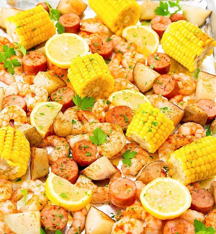 overhead photo of Foil Sheet Pan Oven Shrimp Boil