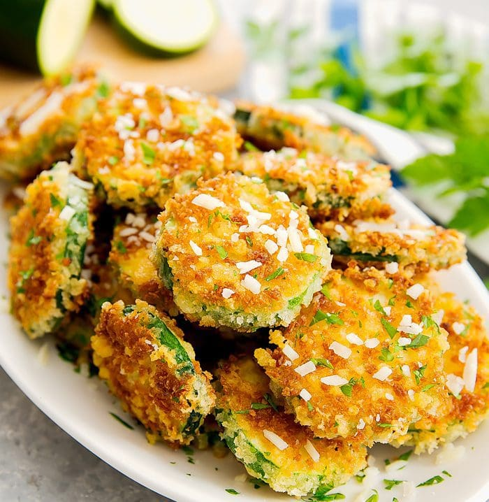 close-up photo of a plate of Parmesan Zucchini Crisps