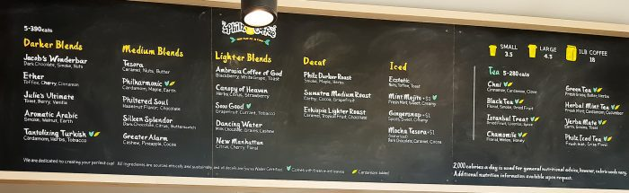 photo of the menu at Philz Coffee