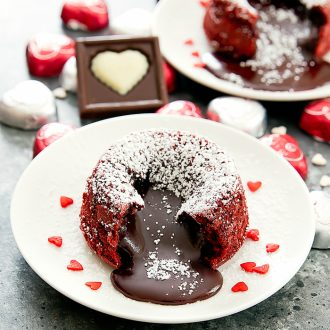 photo of red velvet molten lava cakes