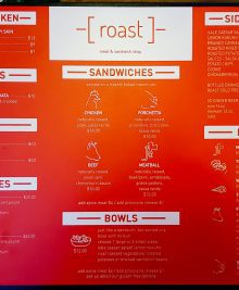 photo of the menu at Roast Meat and Sandwich Shop