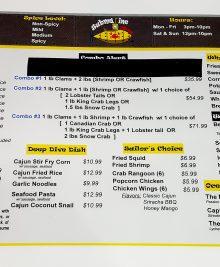 photo of the menu at submarine crab