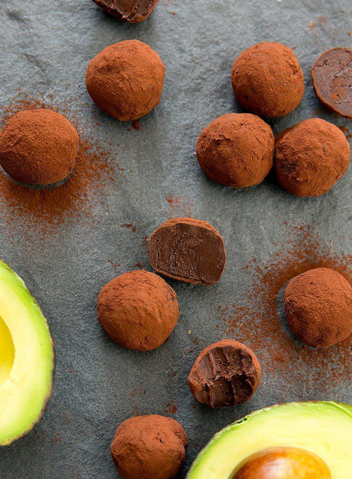overhead photo of Chocolate Avocado Truffles