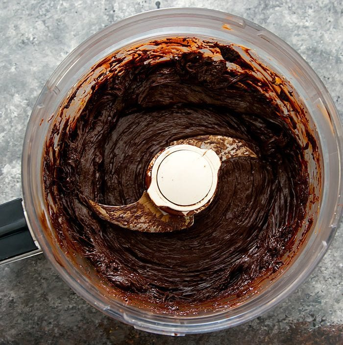 overhead photo of the chocolate and avocado combined in the food processor