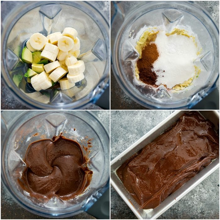 step by step photo collage showing how to combine the ingredients in a blender and pour into a baking pan