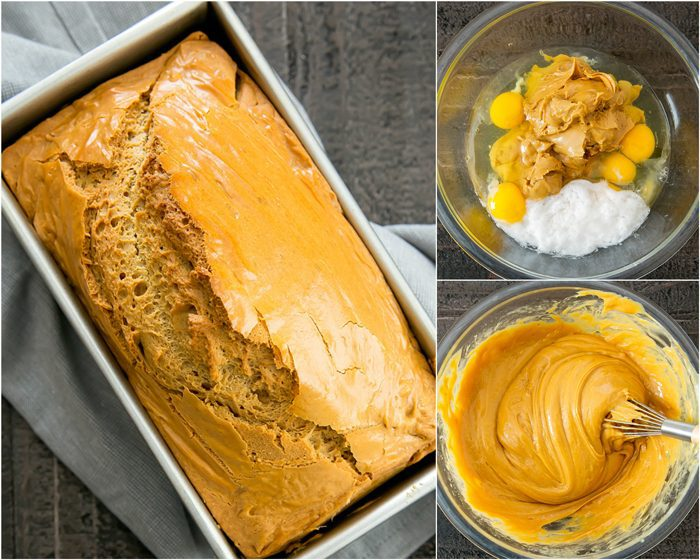 process photo collage showing the baked loaf in a pan, the ingredients for the batter in a bowl, and the ingredients mixed together in a bowl