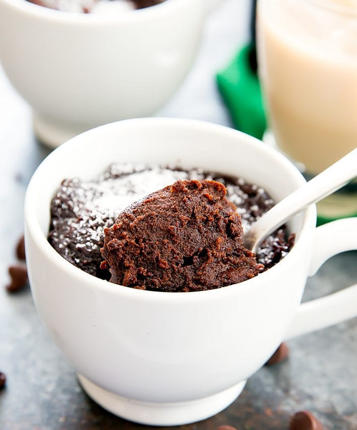 close-up photo of Flourless Baileys Chocolate Mug Cake
