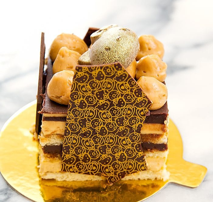 close-up photo of opera cake