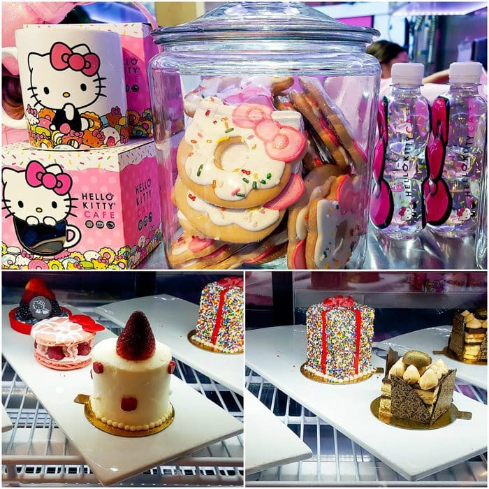 photo collage of different desserts at Hello Kitty Cafe