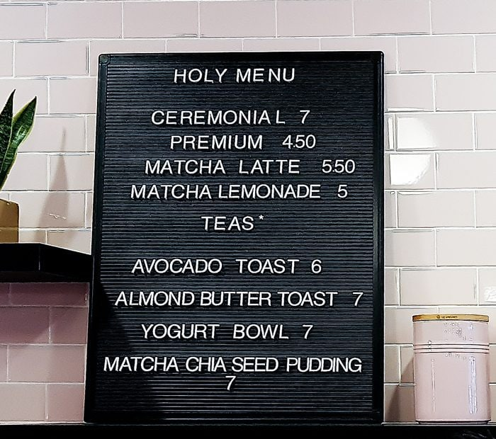photo of the menu board at Holy Matcha