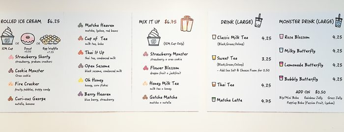 photo of the menu at ICMonster