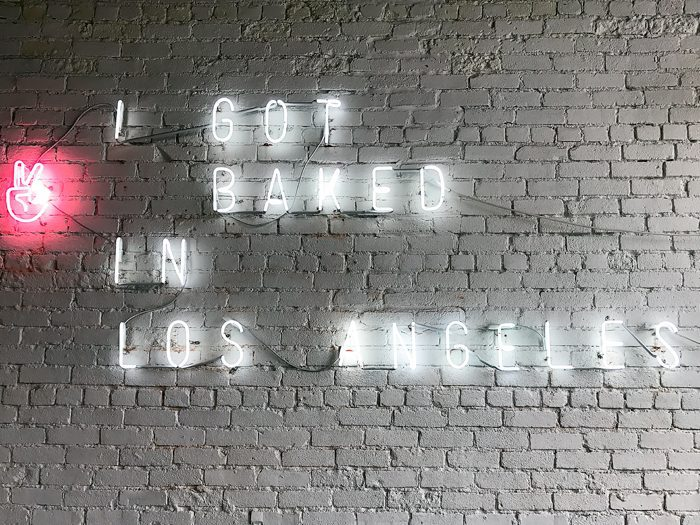 """photo of neon sign that reads """"I got baked in Los Angeles"""""""