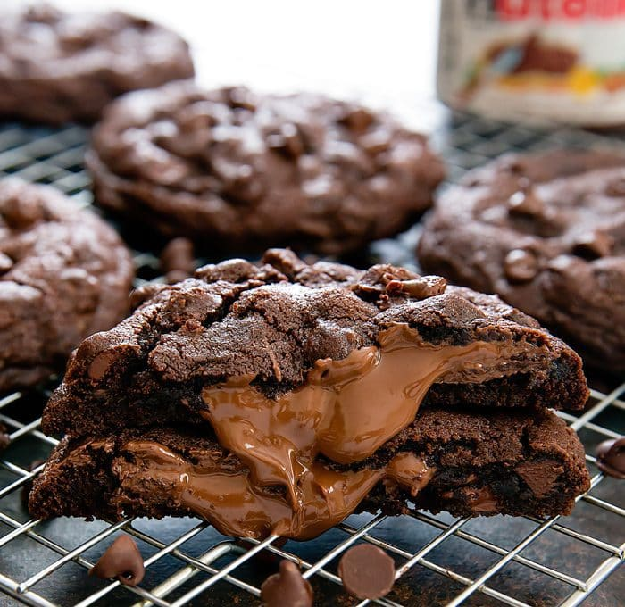 photo of a Chocolate Nutella Lava Cookie with Nutella oozing out of the center