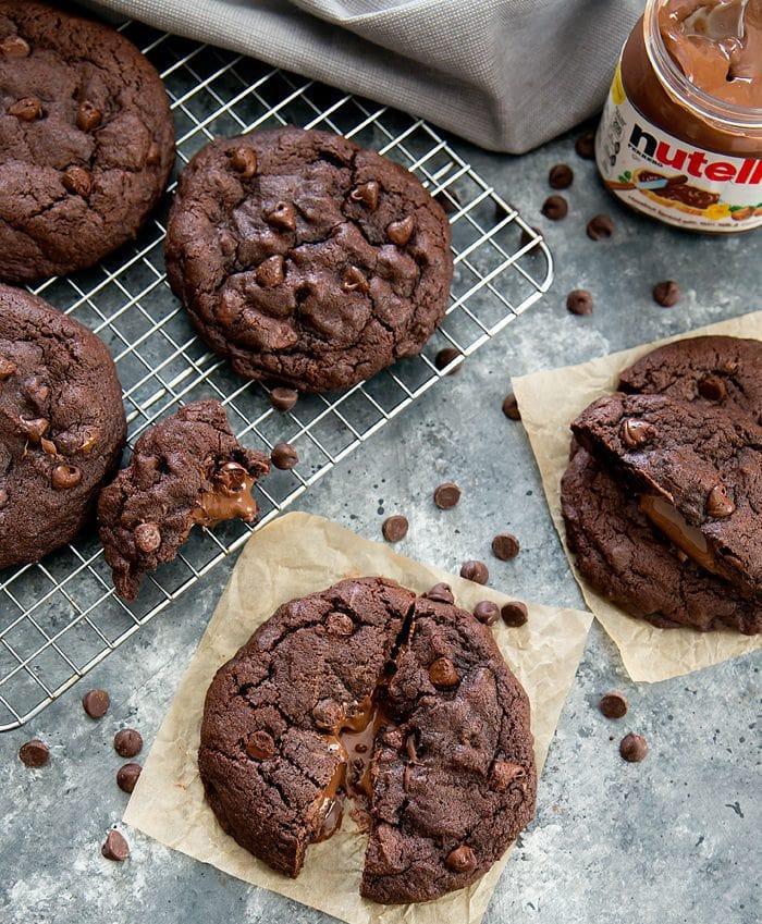 overhead photo of Chocolate Nutella Lava Cookies