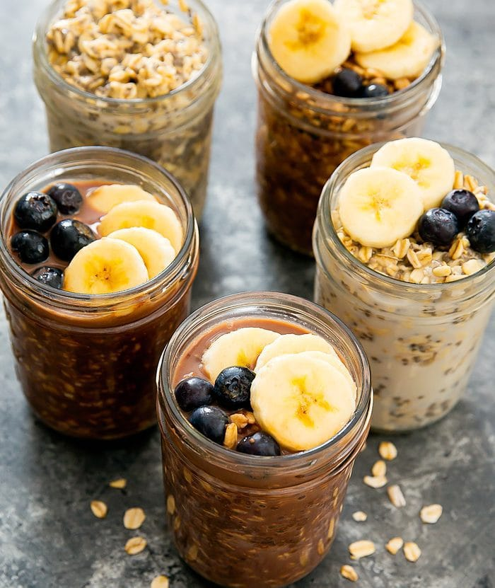 overhead photo of Chocolate Overnight Oats in mason jars