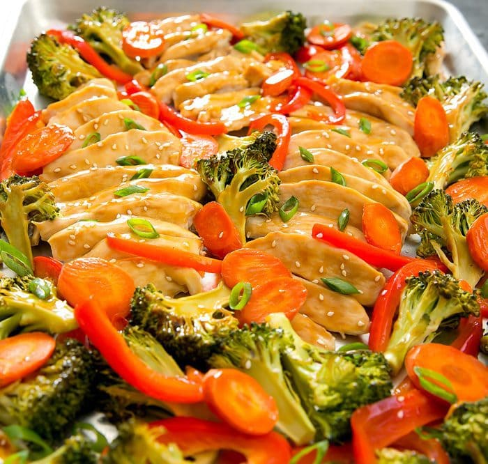 Teriyaki Chicken with vegetables on a sheet pan