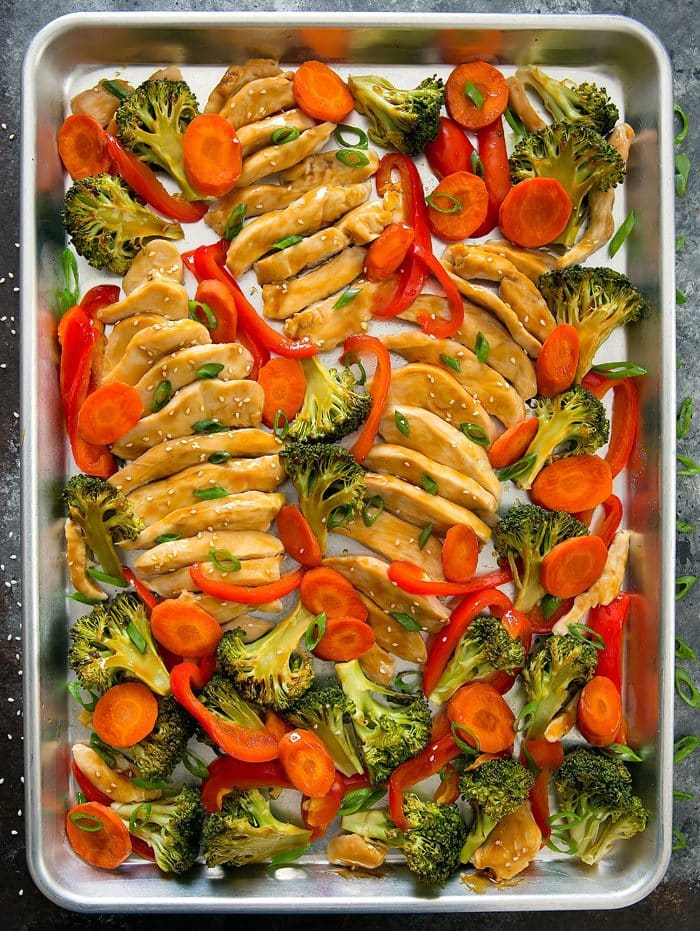 overhead photo of Sheet Pan Teriyaki Chicken