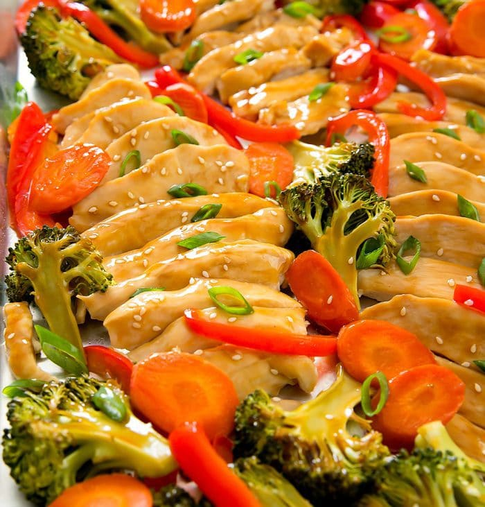 close-up photo of Sheet Pan Teriyaki Chicken with broccoli, carrots, and peppers