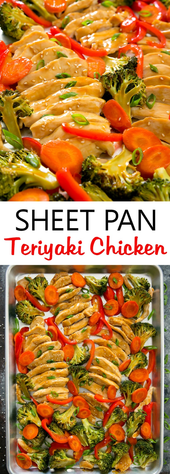 Sheet Pan Teriyaki Chicken. Everything cooks in one pan and is ready in less than 30 minutes.