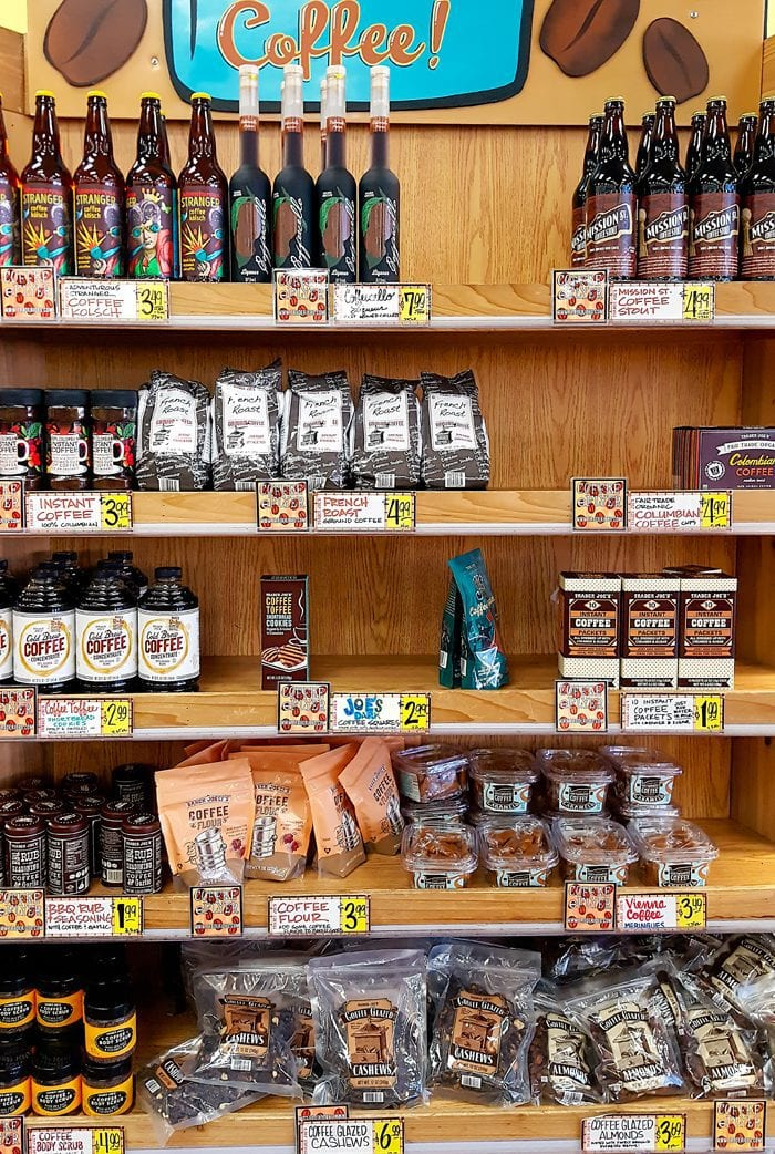 photo of the shelves of products at Trader Joe's