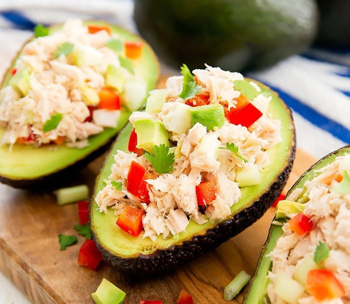 close-up photo Tuna Salad Avocado Boats