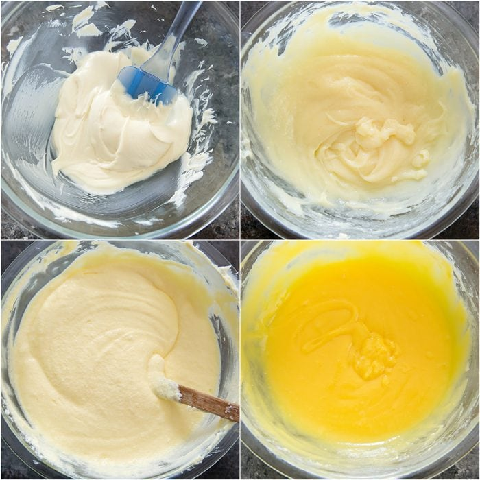 process photo collage showing how to make the cheesecake batter
