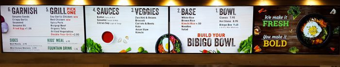 photo of the menu at Bibigo