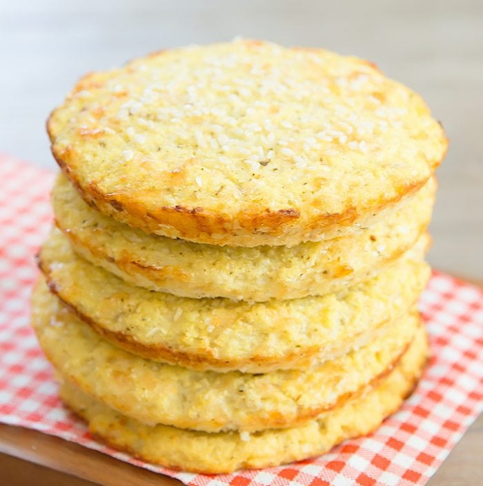 photo of a stack of cauliflower bread buns