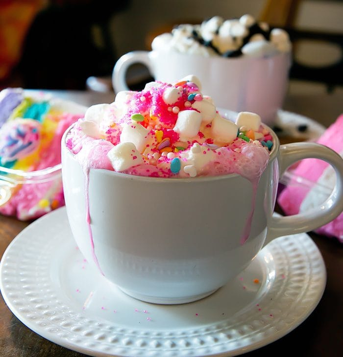 Unicorn Hot Chocolate and cakes from Creme and Sugar