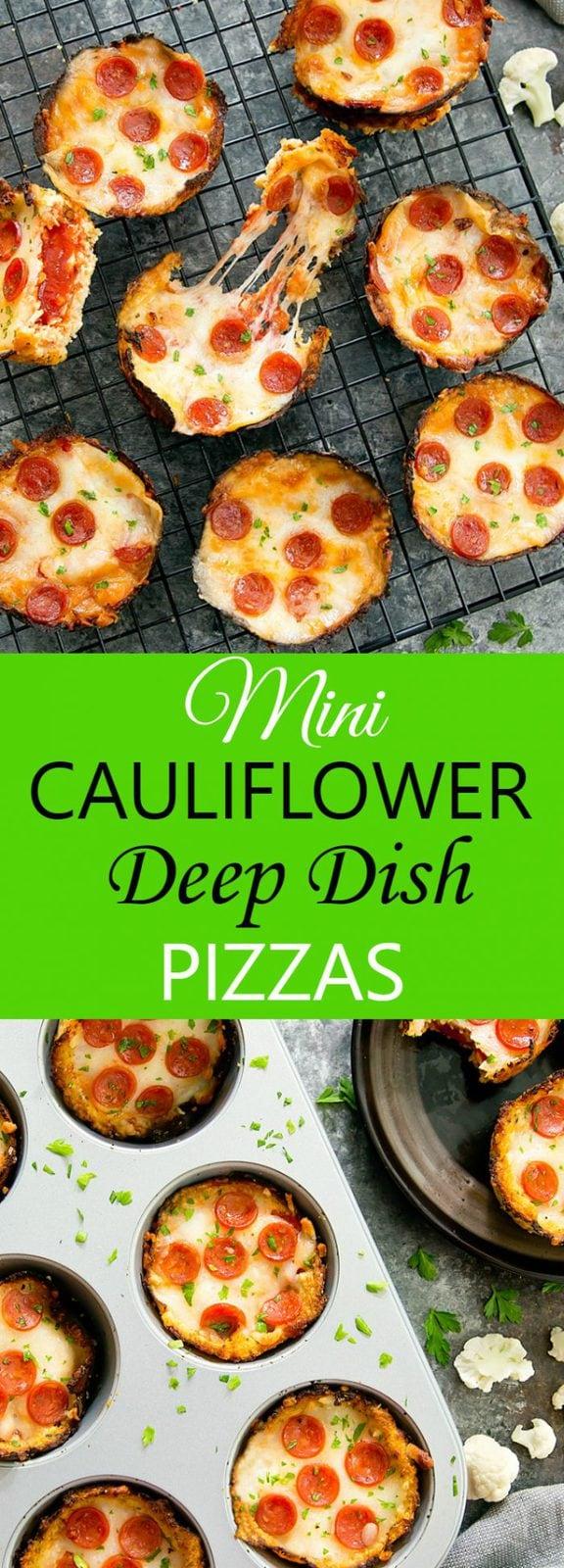 Mini Deep Dish Cauliflower Pizzas