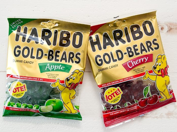 overhead photo of two packages of limited edition Haribo Gold Bears