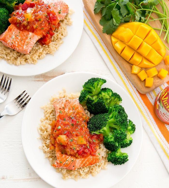 overhead photo of Pan Seared Salmon with Mango Salsa