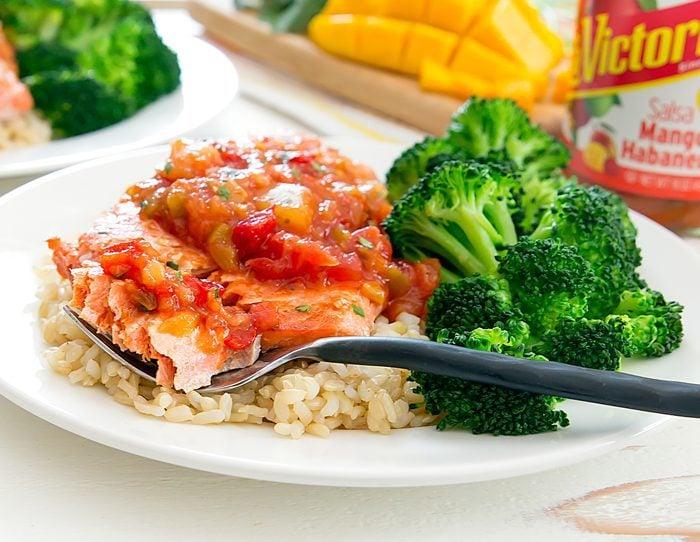 close-up photo of Pan Seared Salmon with Mango Salsa