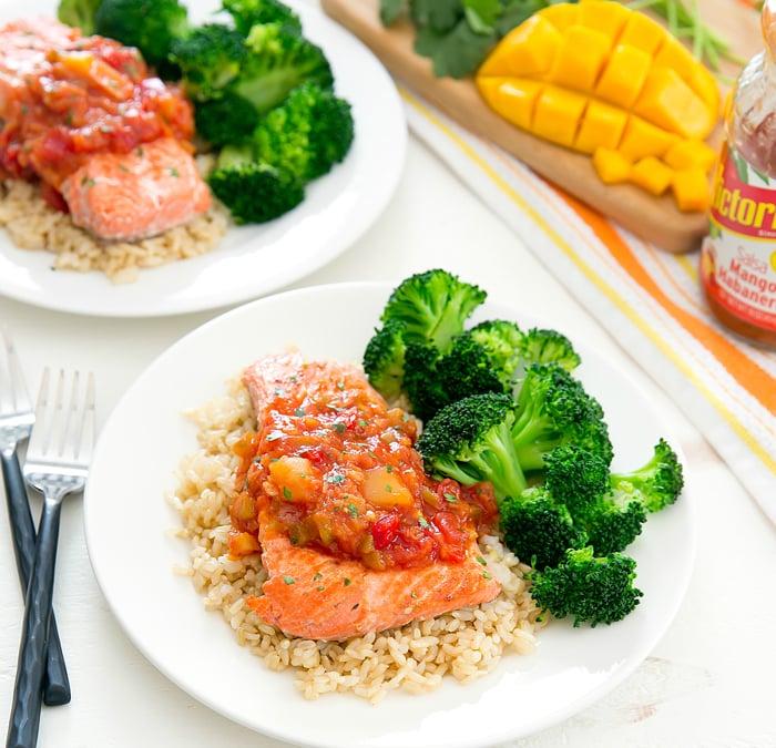 Pan Seared Salmon with Mango Salsa - Kirbie's Cravings