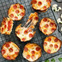 overhead photo of mini pizzas