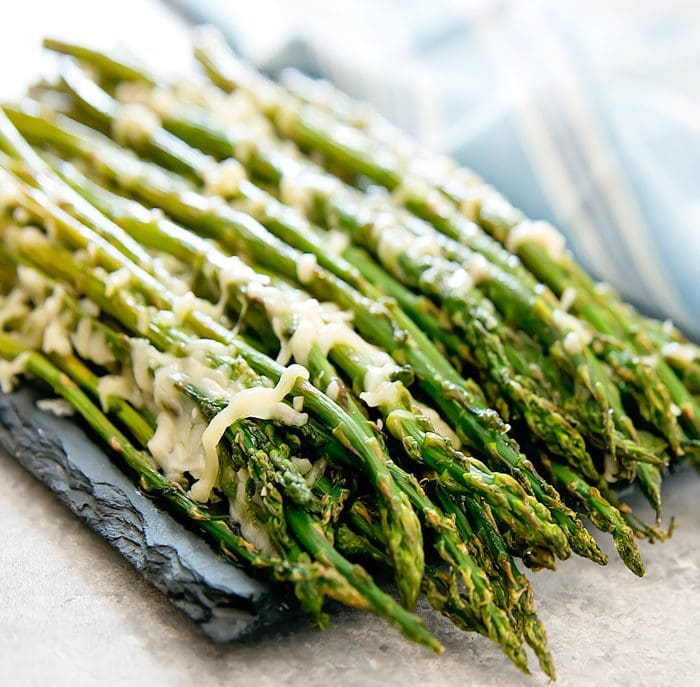 close-up photo of Garlic Parmesan Roasted Asparagus