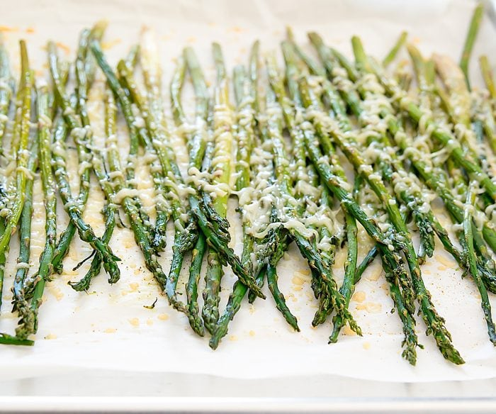 photo of Garlic Parmesan Roasted Asparagus on a baking sheet