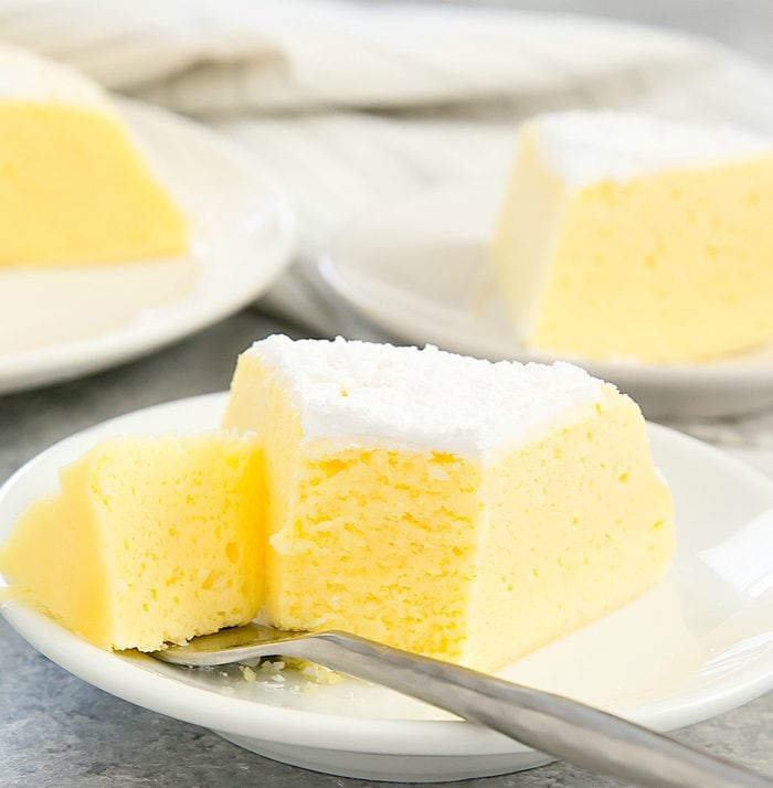 close-up of one piece of Japanese Cheesecake