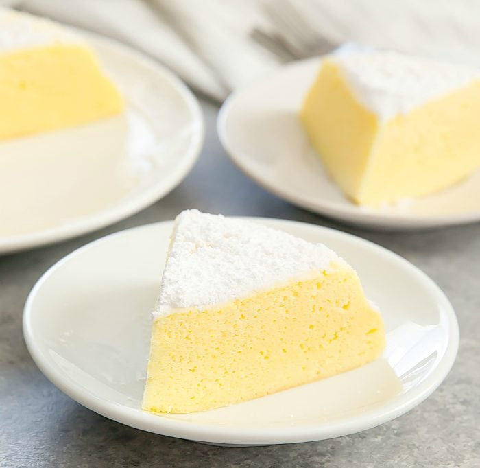 a slice of Japanese Cheesecake