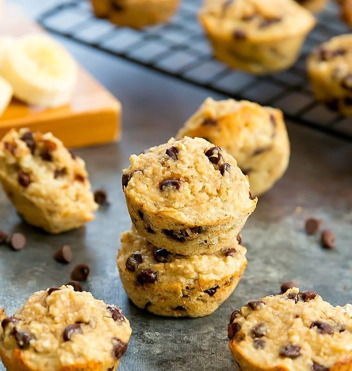 4 Ingredient Flourless Banana Chocolate Chip Muffins