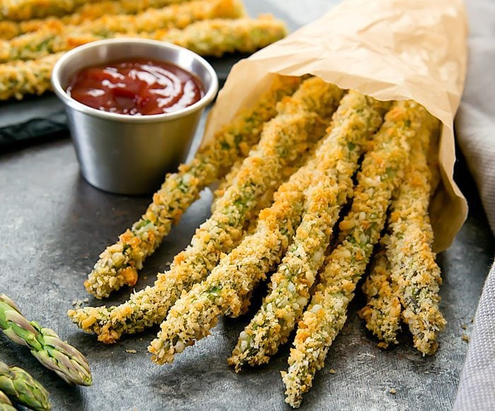 close-up photo of Baked Parmesan Asparagus Fries