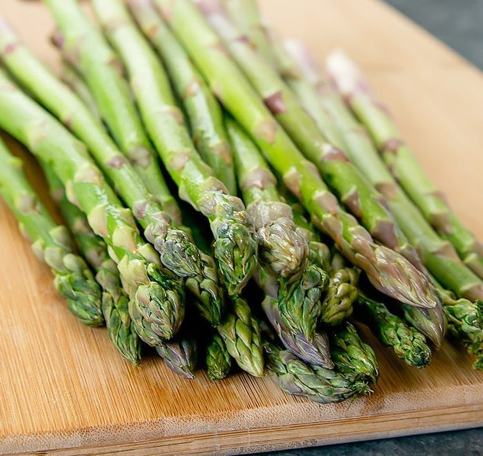 process photo of raw asparagus