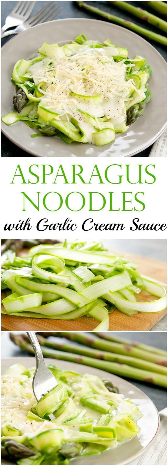 Asparagus Noodles with Skinny Garlic Cream Sauce