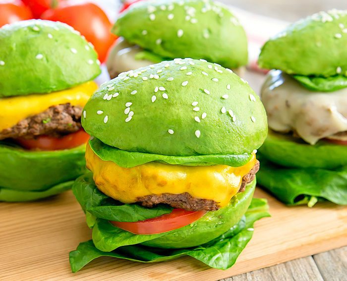 four avocado bun burgers