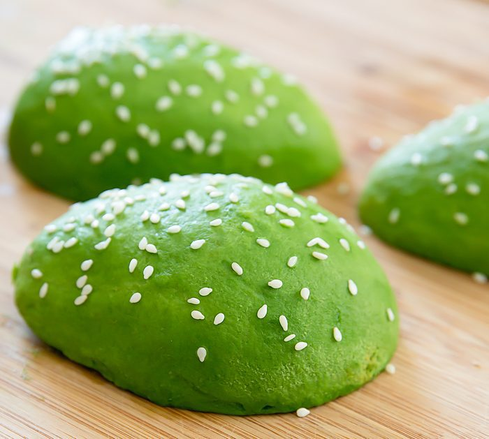 close-up of avocado bun burger