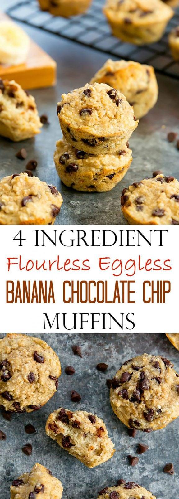 4 Ingredient Flourless Eggless Banana Chocolate Chip Muffins