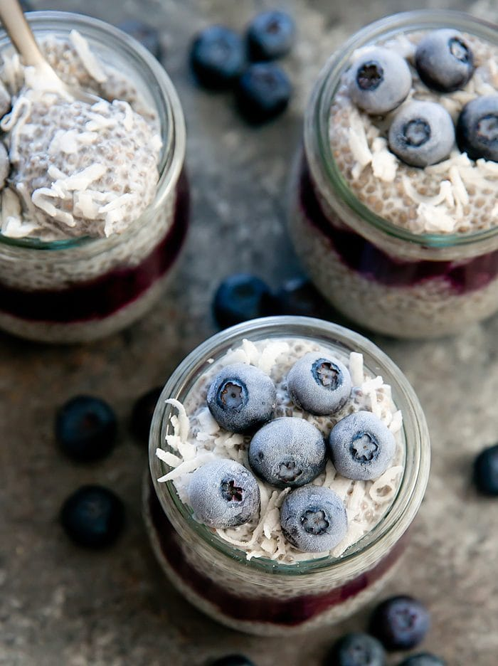 overhead photo of Easy 3 Ingredient Blueberry Coconut Chia Pudding