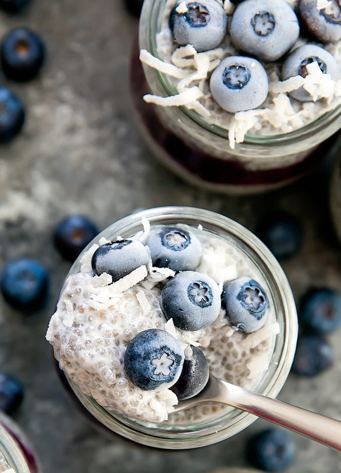 close-up photo of one Blueberry Coconut Chia Pudding